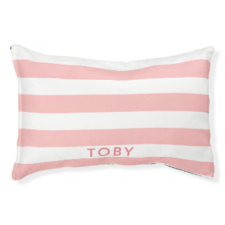 Modern Light Pink Stripes Pattern Personalized Pet Bed