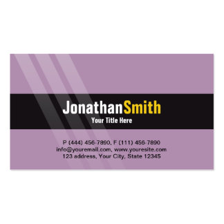 Modern Light Purple Yellow With Elegant Stripes Pack Of Standard Business Cards