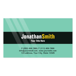 Modern Light Turquoise Yellow With Elegant Stripes Pack Of Standard Business Cards