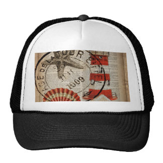 modern lighthouse seashells beach fashion mesh hat