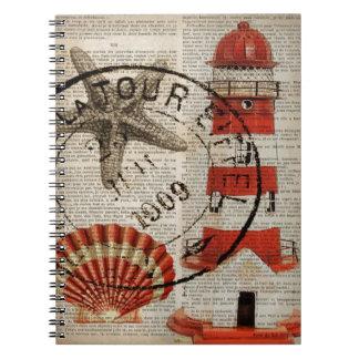 modern lighthouse seashells beach fashion spiral notebooks