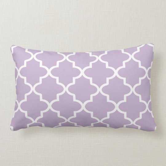 Modern Lilac Purple and White Moroccan Quatrefoil Lumbar