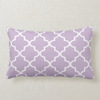 Modern Lilac Purple and White Moroccan Quatrefoil Lumbar Cushion