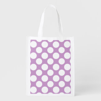 Modern Lilac White Polka Dots Pattern Reusable Grocery Bag