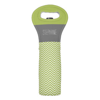 Modern Lime and Charcoal Chevron Pattern with Name Wine Bag