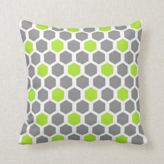 Modern Lime and Grey Hexagon Pattern Pillow