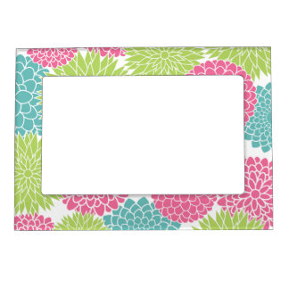 Modern Lime Green and Hot Pink Flowers Picture Frame Magnets