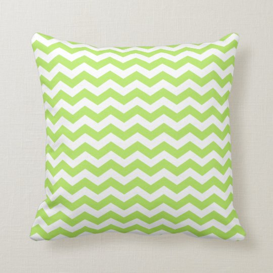 Modern Lime Green and White Chevron Throw Pillow