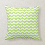 Modern Lime Green and White Chevron Throw Pillow