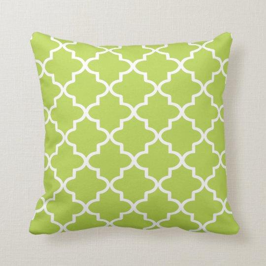 Modern Lime Green and White Moroccan Quatrefoil Cushion