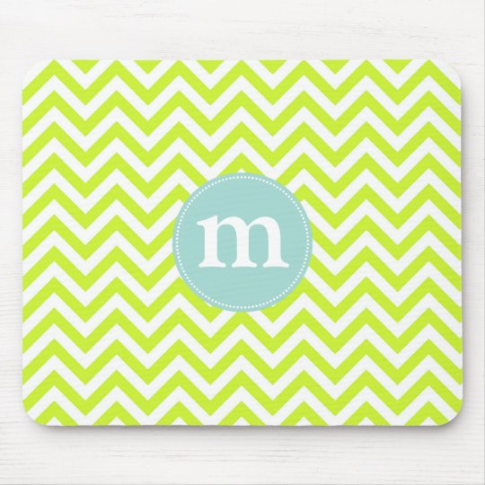 Modern Lime Green Chevron Personalised Mouse Mat