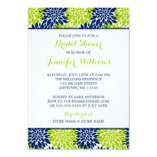 Modern Lime Green Navy Blue Flower Bridal Shower 13 Cm X 18 Cm Invitation Card
