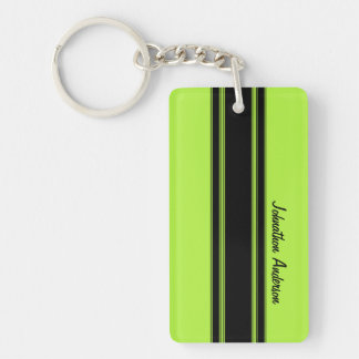 Modern Lime Green Racing Stripes With Name Key Ring