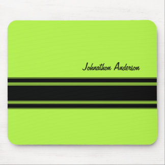 Modern Lime Green Racing Stripes With Name Mouse Mat