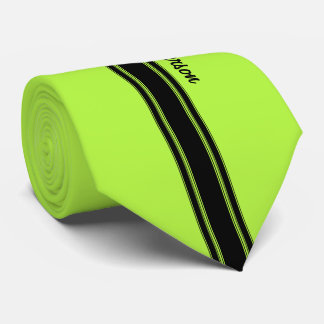 Modern Lime Green Racing Stripes With Name Tie