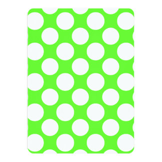 Modern Lime Green White Polka Dots Pattern Personalized Invitation