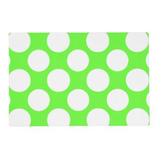 Modern Lime Green White Polka Dots Pattern Laminated Placemat