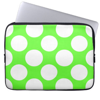 Modern Lime Green White Polka Dots Pattern Computer Sleeve