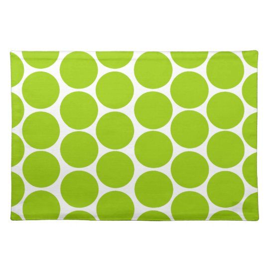 MODERN LIME GREEN, WHITE POLKA DOTS PLACEMAT
