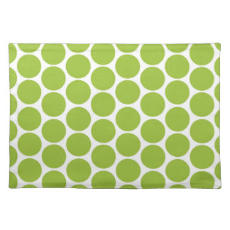 MODERN LIME GREEN, WHITE POLKA DOTS PLACEMATS