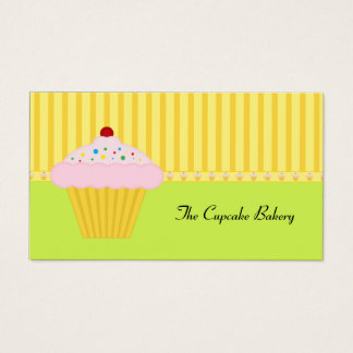 Modern Lime Green Yellow Cupcake Bakery Business Card