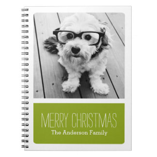 Modern Lime Merry Christmas One Photo Notebooks
