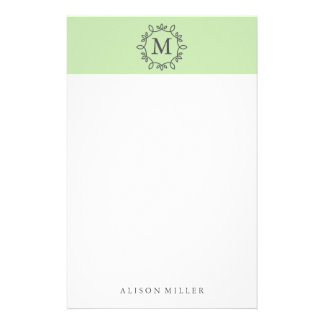 Modern Lime Monogrammed Stationery