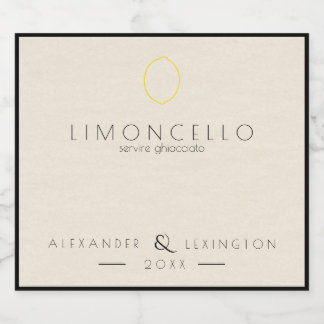 Modern Limoncello Wedding Favor Small Bottle | Beer Bottle Label