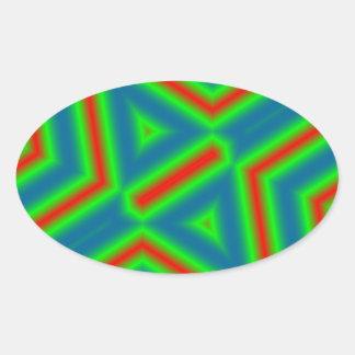 Modern line pattern oval sticker