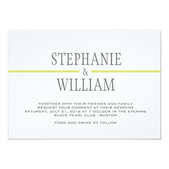Modern Line Wedding Invitation Card in Lime