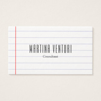 Modern Lined Paper Professional Plain Black White Business Card