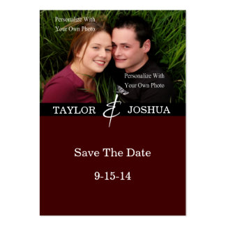 Modern Lines Deep Cocoa Photo Save The Date #2 Pack Of Chubby Business Cards
