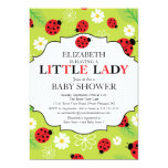 "Modern Little Lady Red Ladybug Baby Shower 5"" X 7"" Invitation Card"