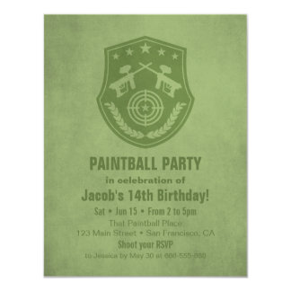 Modern Logo Paintball Birthday Party Invitations