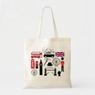 Modern London Great Britain icons vintage typo Tote Bag