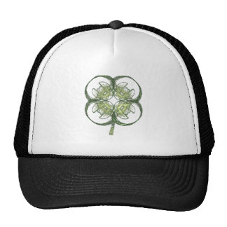 Modern Look Four Leaf Clover Fractal Art with Stem Trucker Hat