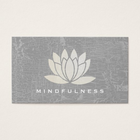 Modern Lotus Flower Marbled Grey Business Card