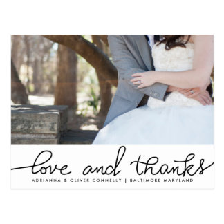 Modern Love And Thanks Handwritten | Couple Photo Postcard