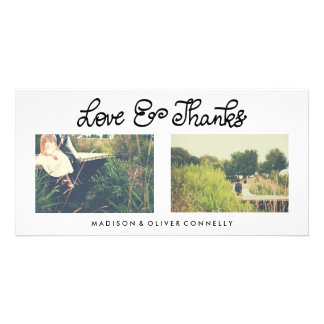 Modern Love And Thanks Handwritten Wedding Photo Greeting Card