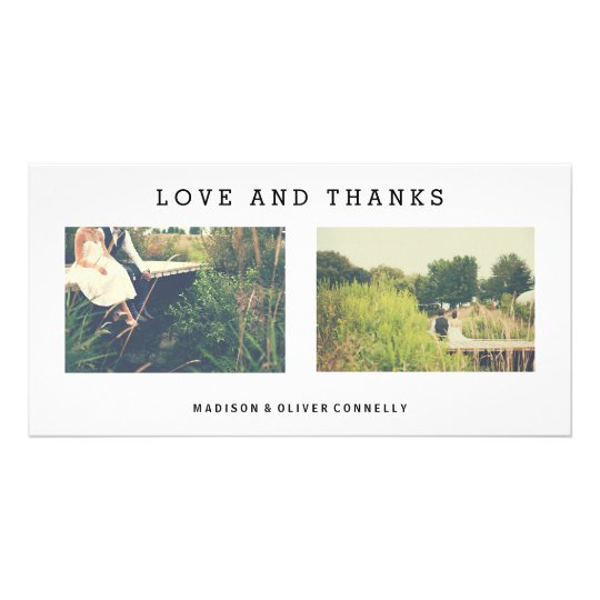 Modern Love And Thanks Wedding Photo Collage Card