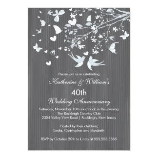 Modern Love Birds Anniversary Party Invitation