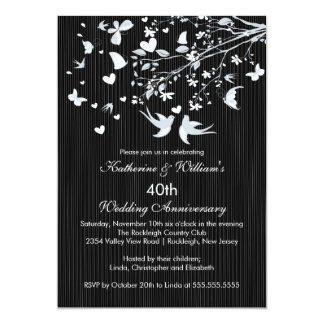 Modern Love Birds Anniversary Party Invitation