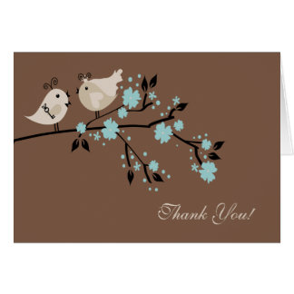 Modern Love Birds Bridal Shower Thank You Note Note Card