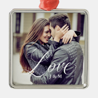 Modern Love | Elegant Calligraphy with your Photo Christmas Ornament