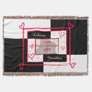 modern love heart photo frame throw blanket