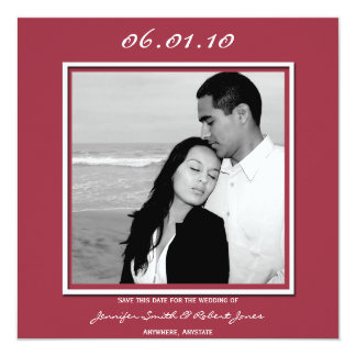 Modern Love in Burgandy Save the Date card 13 Cm X 13 Cm Square Invitation Card