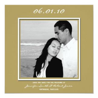 Modern Love in Gold Save the Date card 13 Cm X 13 Cm Square Invitation Card