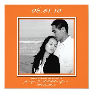 Modern Love in Orange Save the Date card 13 Cm X 13 Cm Square Invitation Card