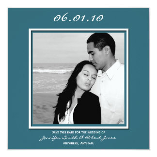 Modern Love in Teal Save the Date card 13 Cm X 13 Cm Square Invitation Card