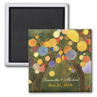 Modern Love Trees in Olive Green Save the Date Square Magnet